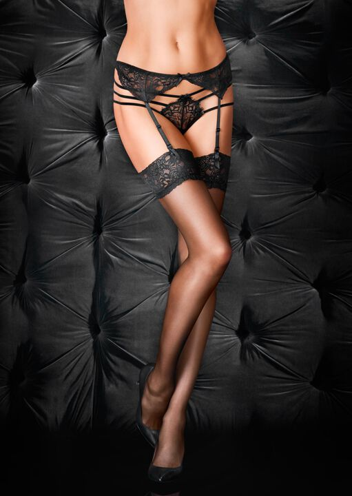 Glossy Stocking & Suspender Set image number 1.0