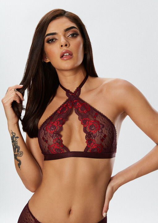 The Fierce Erotic Bra and Crotchless Brief Suspender Set image number 1.0