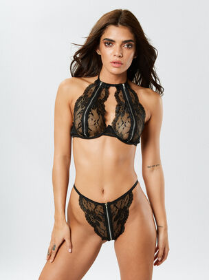Dreamgirl Zip Lace Bralette & Knicker Set