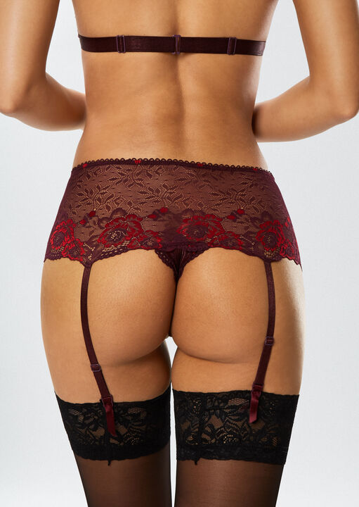 The Fierce Erotic Bra and Crotchless Brief Suspender Set image number 4.0