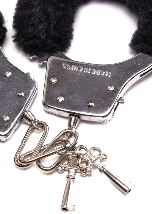 Black Faux Fur Handcuffs image number 3.0