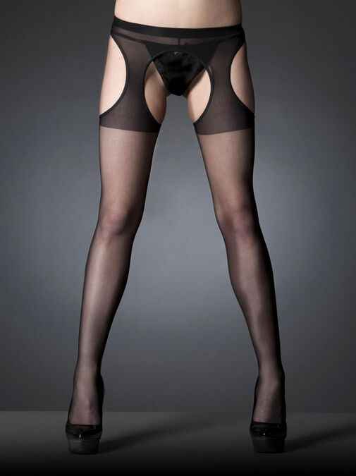 Crotchless Glossy Tights image number 1.0