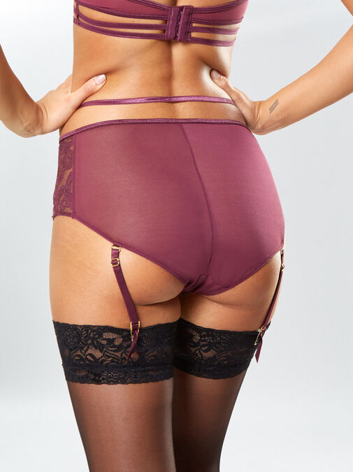 Bonnie Crotchless High Waisted Suspender Brief image number 1.0