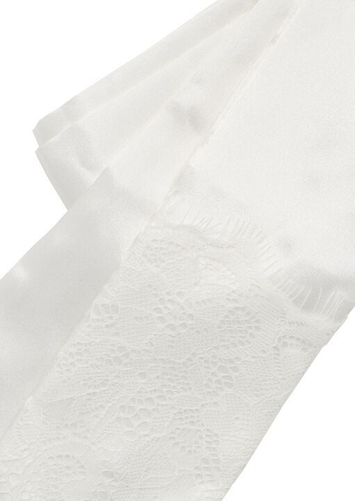 Satin & Lace Tie Ivory image number 1.0