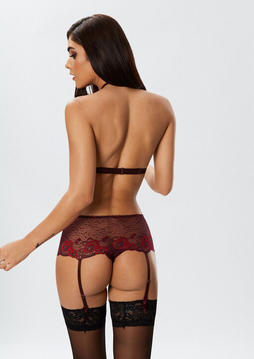 The Fierce Erotic Bra and Crotchless Brief Suspender Set image number 3.0