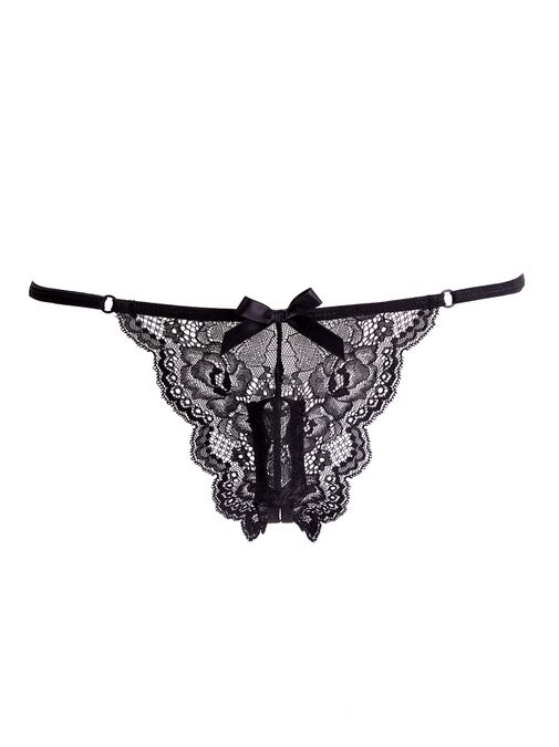 Vibrating Black Crotchless Knickers image number 0.0
