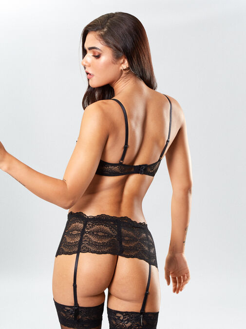 Kora Lace Bra and Crotchless Thong Set image number 1.0