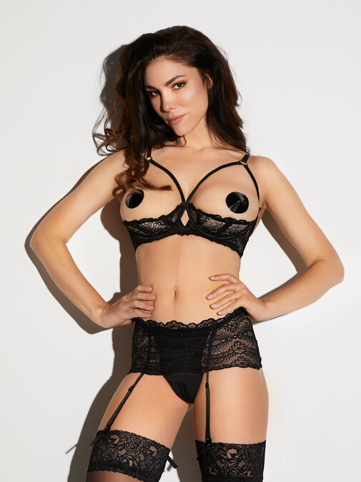 Kora Lace Bra and Crotchless Thong Set image number 5.0