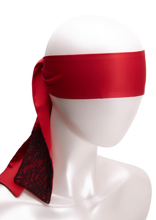 Satin And Lace Blindfold Red and Black image number 0.0
