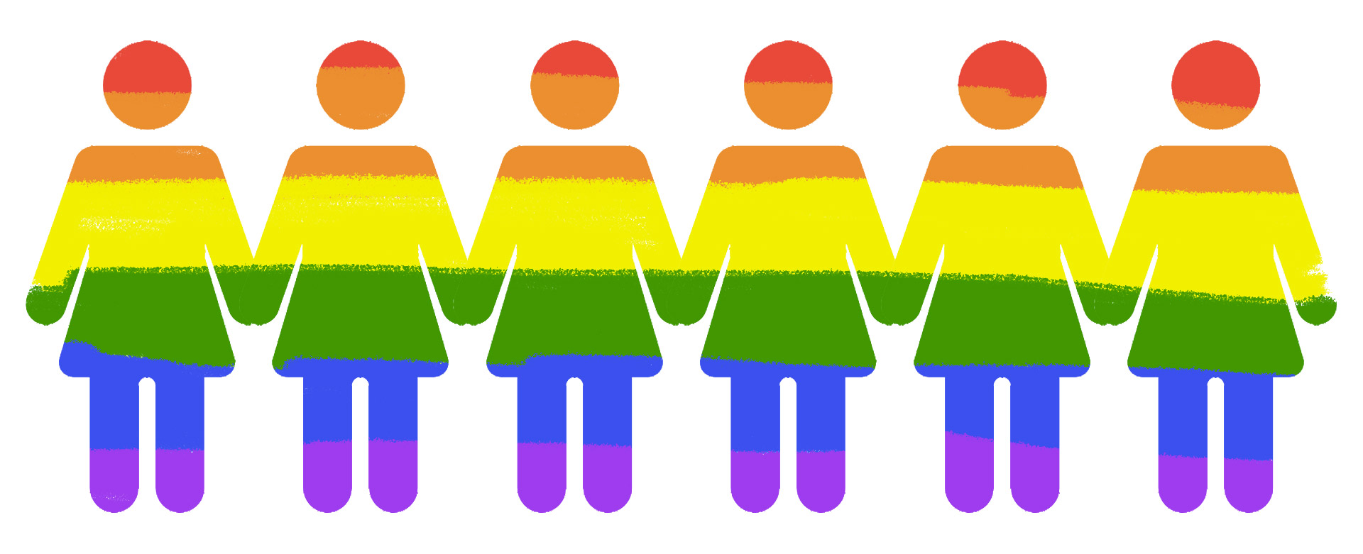 Icons of females in the pride rainbow flag