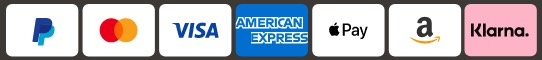 pay with: paypal, visa, mastercard, amex, klarna, amazon pay, apple pay